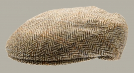 Pet 'Philip Harris Tweed Camel' - flat-cap bruin/zand - visgraat wollen - maat 62 - CTH Mini