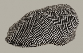 Pet `Christopher` - newsboy cap - zwart wollen visgraat - maat 55 - FI