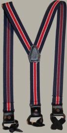 Bretels -  blauw/rood gestreept met zwarte leertjes - maat baby/kleuter - EL