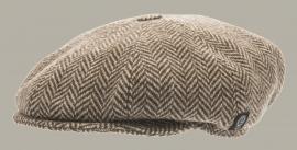 Pet `Theodor Eco Wool Brown - newsboy cap met oorflappen - bruin visgraat - maat 50 - CTH Mini