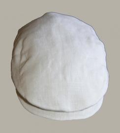 *Pet  `Jonas` wit linnen - newborn baby flat-cap - nieuw - maat 36-38 en 40-42 - ClassyBoy