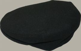 Pet `Foppe` - flat-cap - uni zwart wollen - maat 58 - FI