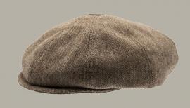 Pet `Theodor Herringbone Brown` - newsboy cap met oorflappen - bruin visgraat - maat 46/50/52/54/56 - CTH Mini