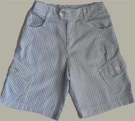 Little Linens wit/lichtblauw gestreepte bermuda - `seersucker` katoen - maat 134 - LL26