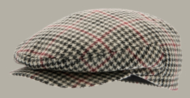 Pet `Fraser Dogtooth Black-Wine` - zwart/rood pied-de-poule flat-cap - maat 58/62 - CTH Ericson