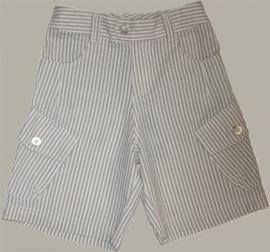 Little Linens wit/zand gestreepte bermuda - `seersucker` katoen - maat 74 - LL29