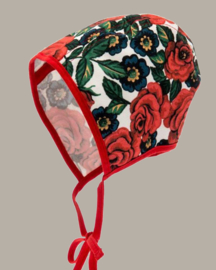 Bonnet 'Karin Dalaros Red' - rozen dessin - maat 42/44/48/52 - CTH Mini