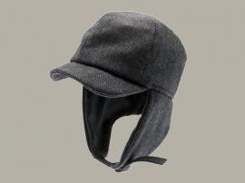 Pet `Uno Herringbone Blue` - cap met oorflappen - pilotenmuts blauw visgraat - maat 44/46/48/50/52/54 - CTH Mini