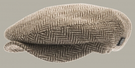 Pet `Carl Eco Wool Brown` - flat-cap met oorflappen - bruin/zand visgraat - maat 50 - CTH Mini