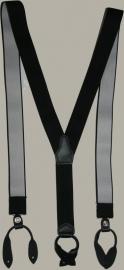 Bretels - zwart met zwarte leertjes - maat 134 t/m volwassen maat
