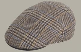 Pet `Wijnant` - flat-cap - bruin wollen geruit - maat 54/55 - FI
