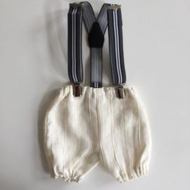 Linnen pofbroekje met bretels - ecru met grijs/blauw/wit gestreepte bretels - maat 50/62 - Z3