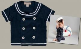 Little Linens donkerblauw linnen overhemd `Sailor` - maat 110/116 - LL16