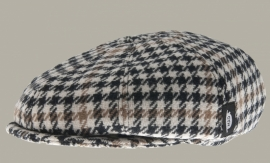 Pet `Theodor' Morgan Honey - newsboy cap met oorflappen - bruin/zwart/ecru geruit - maat 56/57/58/61 - CTH Mini