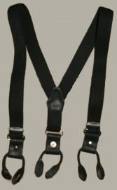 Bretels - zwart met zwarte leertjes - maat baby/kleuter - EL