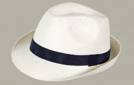 Fedora hoed 'Bob' - wit met donkerblauw lint - maat 50-51 - FI