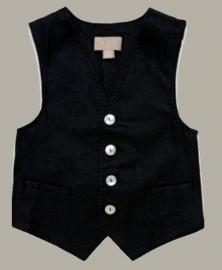 Little Linens zwart linnen gilet - maat 134 - LL22