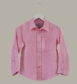 Little Linens  'Imperial Pink' - roze linnen overhemd - maat 110 - LL54