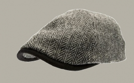 Pet `Henning Harris Tweed` - driver-cap met oorflappen - zwart/grijs visgraat - maat 60/62 - CTH Ericson