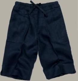 Little Linens donkerblauwe linnen capri broek - maat 68 - LL18