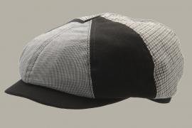 Pet `Börje` Patchwork - newsboy cap - zwart/beige - maat 46/54 - CTH Mini