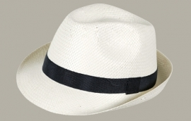 Fedora hoed 'Bob' - wit met zwart lint - maat 50-51/52-53 - FI