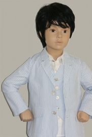 Little Linens wit/lichtblauw gestreept colbert - `seersucker` katoen - maat 134 - LL28