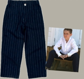 Little Linens donkerblauwe linnen krijtstreep lange broek - maat 110/116 - LL12