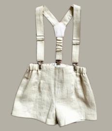 Linnen broekje met bretels - kleur 'Tan' zand/kakhi - maat 80 - MK01