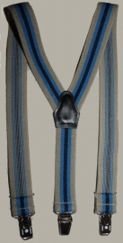 Bretels - zand/blauw gestreept - maat kind - 85 cm.