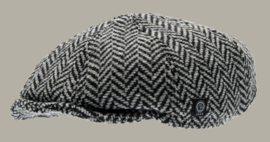 Pet `Theodor' Greyling Black - newsboy cap met oorflappen - grijze visgraat pet - maat 46/48/50/52/56 - CTH Mini