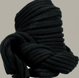 Sjaal 'Owen' - effen zwart / uni zwart - FI