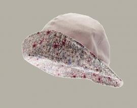 Hoedje 'Alice' - roze gebloemd katoenen hoedje voor meisjes - maat 48 - CTH Mini