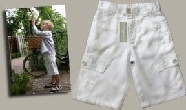 Little Linens witte linnen bermuda - maat 98/104 - LL13