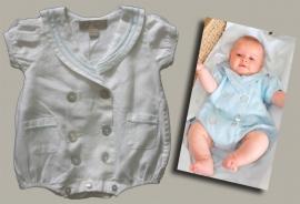 Little Linens wit linnen matrozenpak - maat 62 - LL04