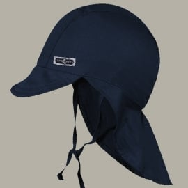 Hoed 'Teun' donkerblauwe zonnehoed met flap UV - maat 45 - FI