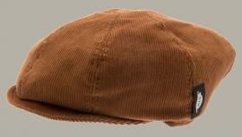 Pet `Theodor Cord Tan` - rib newsboy cap met oorflappen - corduroy camel/bruin - maat 50/52 - CTH Mini