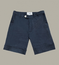 Little Linens 'Midnight Navy' donkerblauw linnen bermuda shorts - maat 80 - LL46