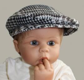 Pet  `Jonas` bruin/crème geruit - baby flat-cap - ClassyBoy