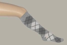Bonnie Doon kniekous `Argyle` wit/lichtgrijs - maat 23 t/m 38 - BD02