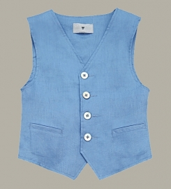 Little Linens 'Heritage Blue' blauw linnen gilet - maat 110/116 - LL52