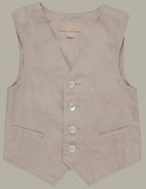 Little Linens 'Wheat' zand linnen gilet - maat 110/116 - LL32