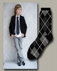 Bonnie Doon sok `Argyle` zwart  met grijs - maat 40-46 - BD10