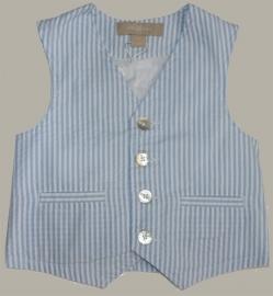 Little Linens wit/lichtblauw gestreept gilet - `seersucker` katoen - maat 134 - LL27