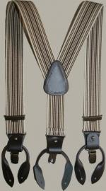 Bretels - zand/bruin gestreept - met leertjes en clips - maat baby/kleuter - DF