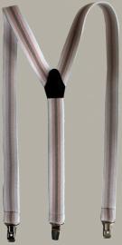 Bretels - wit/roze/grijs gestreept - maat baby - 55 cm. - EL