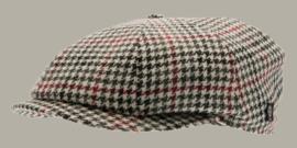 Pet `Wilson Dogtooth Black-Wine` - zwart/rood pied-de-poule flat-cap - maat 58/60 - CTH Ericson