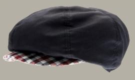 Pet `Elof' Pima/Flannel Check - newsboy-cap - blauw met geruite details - maat 46/48/50/52/54/56 - CTH Mini