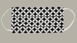 Mondkapje 'Guus' - 2-laags en wasbaar - zwart/wit retro design - volwassen maat