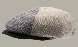Pet `Danny Herringbone Patchwork` - newsboy cap met oorflappen - blauw/bruin visgraat - maat 48/56 - CTH Mini